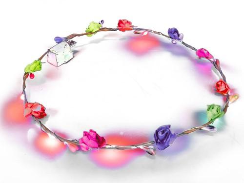 Haarband Bloemen Multi met LED-lampjes