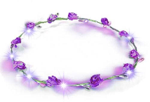 Haarband Bloemen Paars met LED-lampjes