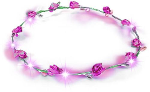 Haarband Bloemen Pink met LED-lampjes