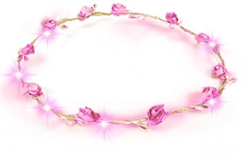 Haarband Bloemen Roze met LED-lampjes