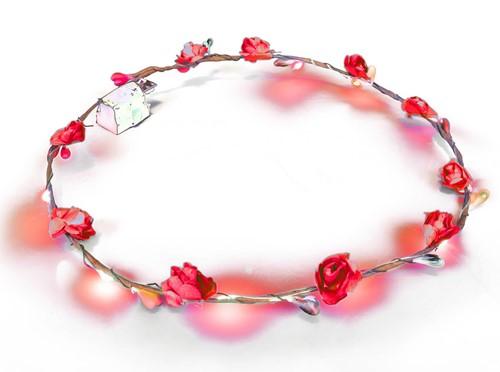 Haarband Bloemen Rood met LED-lampjes