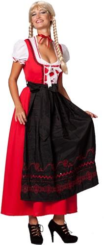 Rood/Zwarte Lange Dirndl Jurk