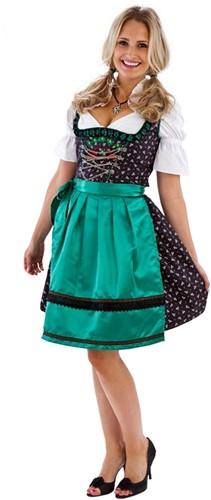 Zwart/Groen Dirndl Landhausstil 60cm Luxe 3dlg.