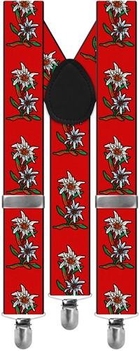 Rode Edelweiss Bretels