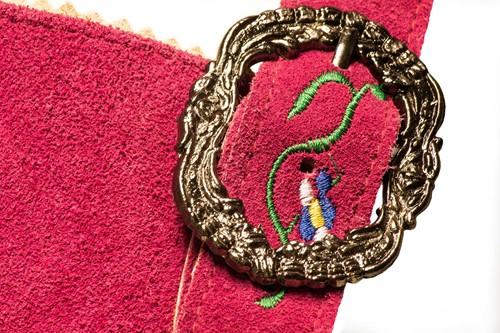 Lederhose Dames Pink Kort-2