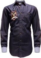 Denim Marine Tiroler Overhemd (100% katoen)