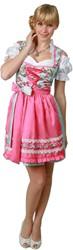 Luxe Dames Dirndl Cherie (Lichtblauw met Pink - 50cm)