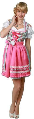 Dames Dirndl Cherie Luxe Lichtblauw/Pink (50cm)