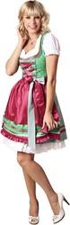 Luxe Dames Dirndl Lorena (Groen met Pink - 50cm)