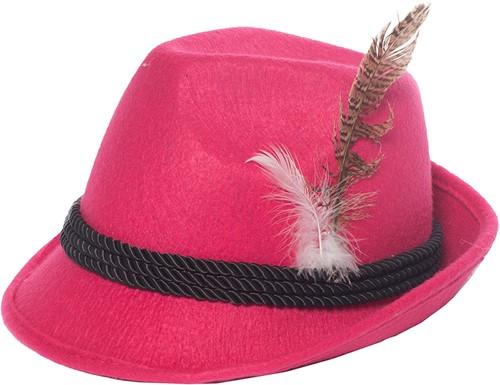 Tiroler Dameshoed Pink (met veer)