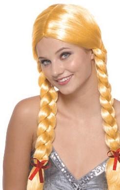 Blonde Pruik Heidi met Vlechten
