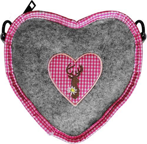 Tiroler Tasje Hart Grijs-Roze