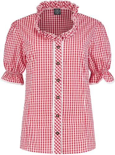Trachtenblouse voor Dames Rood/Wit (100% katoen)
