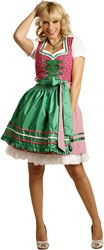 Luxe Dames Dirndl Diana (Groen met Pink - 50cm)
