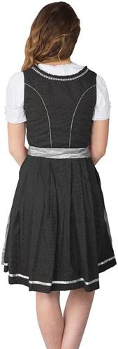 Dirndl Fabia Zwart-Zilver Luxe (55cm) (model achterkant)
