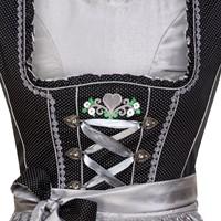 Dirndl Fabia Zwart-Zilver Luxe (55cm) (detail bovenkant)