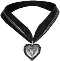 Halsketting Hartje met Edelweiss Zwart (strass)