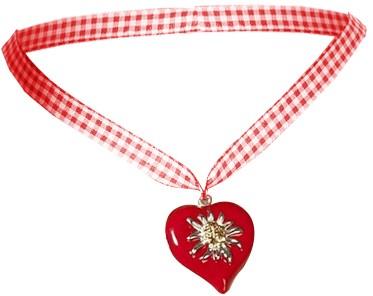 Rode Hartjes Ketting met Edelweiss