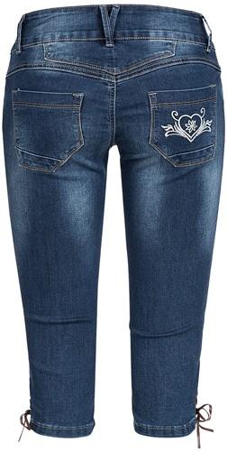 Blauwe Tiroler Dames Trachten Jeans (driekwart)-3