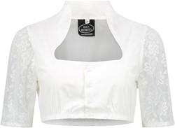 Luxe Dirndlblouse Wit Opstaande Kraag (100% katoen)