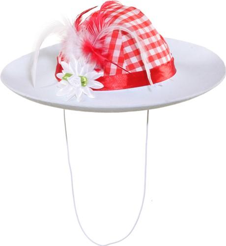 Rood/Witte Tiroler Hoed voor dames