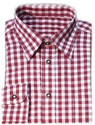 Luxe Wijnrood Tiroler Overhemd (katoen en polyester)
