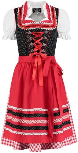 Dirndl Zwart-Rood met Stippen 60cm Luxe 3dlg.