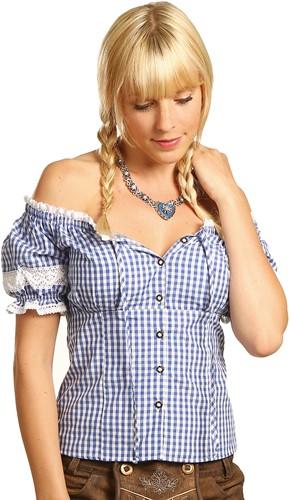 Blauw/Witte Tiroler Dames Blouse Carmen