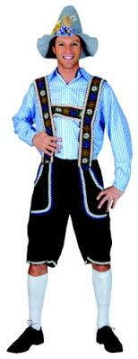 Blauw/Wit Geruit Tiroler Overhemd