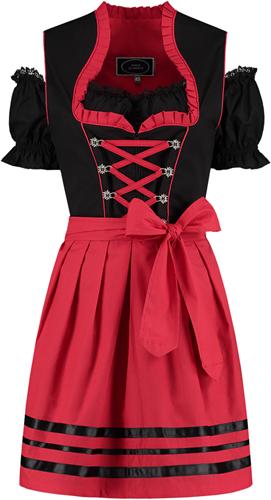 Zwart-Rood Dirndl 50cm 3dlg. (100% Katoen)