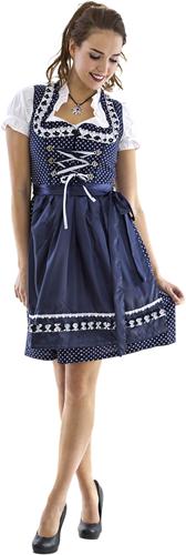 Dirndl Luxe Blauw-Wit met Stippen 60cm 3dlg