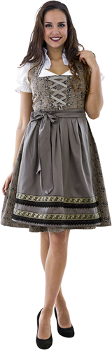 Luxe Dirndl Taupe-Donkerblauw 65cm 3dlg.