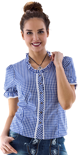 Trachtenblouse voor Dames Blauw/Wit (100% katoen)