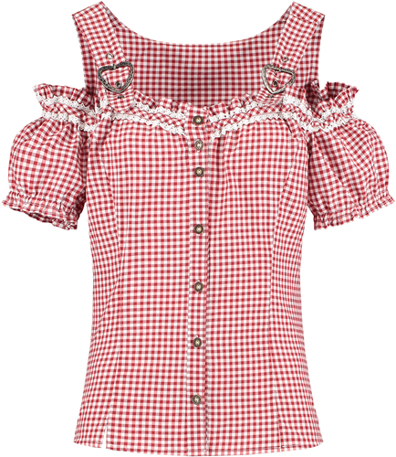 Tiroler Miederblouse Rood-Wit Luxe