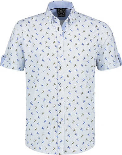 Trachtenhemd Korte Mouw Blauw/Wit met Hertjes (100% katoen)