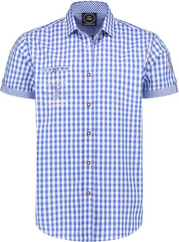 Trachtenhemd Korte Mouw Rood/Wit (100% katoen)
