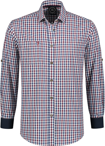 Luxe Trachtenhemd Wijnrood/Wit/Donkerblauw (100% katoen)