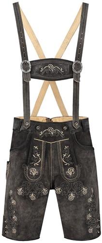 Kort Luxe Vintage Antraciet Heren Lederhose Rundleer