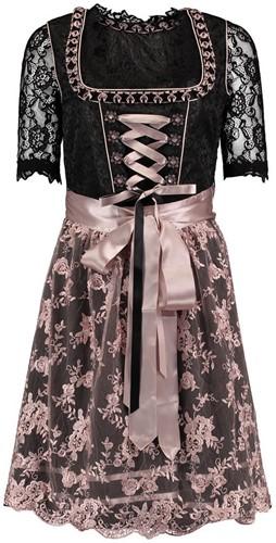 Luxe Dirndl Lotti Zwart-Roze (3dlg)