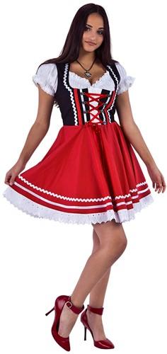 Zwart-Rood Tiroler Dirndl Zwart-Rood 50cm 2dlg. (100% Katoen)