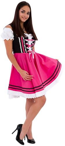 Zwart-Pink Tiroler Dirndl 50cm 2dlg. (100% Katoen)