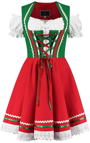 Groen-Rood Tiroler Dirndl 50cm 2dlg. (100% Katoen)