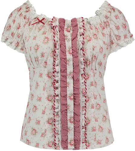 Tiroler Blouse Roze Roosjes voor dames (100% katoen)